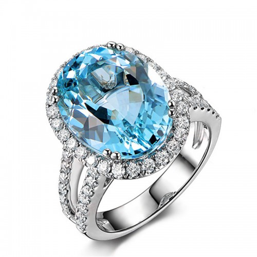 925 Silver 5.5ct Colored Gemstone Ring Natural Topaz Sky Blue Women's Ring